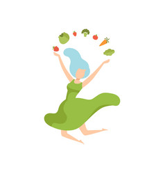 young happy woman juggling with vegetables vector image