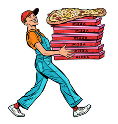 young man pizza boy food delivery isolate on vector image