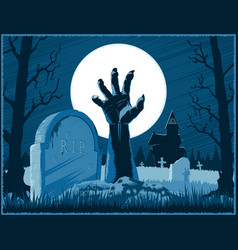 Zombie hand cemetery halloween vintage background vector