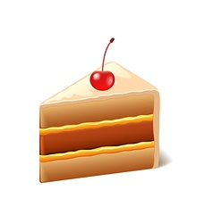 Cake with cherry isolated on white vector image vector image