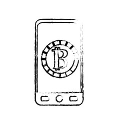 Figure smartphone with bitcoin currency symbol vector