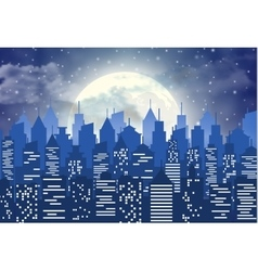 Silhouette of the city with cloudy night sky vector image vector image