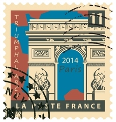 stamp with Paris Triumphal Arch vector image