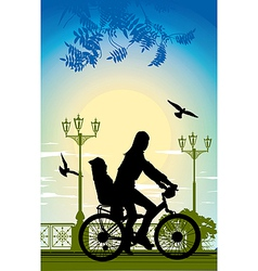 Family bike ride vector image vector image