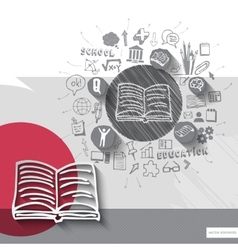 Paper and hand drawn book emblem with icons vector image vector image