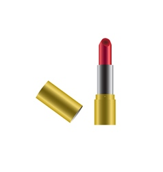 Red lipstick with gold case cover icon vector image vector image