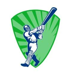 retro cricket shield vector image vector image