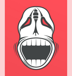 skull on red background vector image vector image