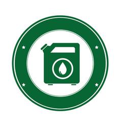color circular emblem with bio fuel container vector image
