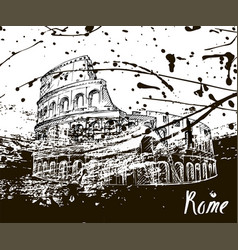colosseum sketch hand drawn ink spots vector image