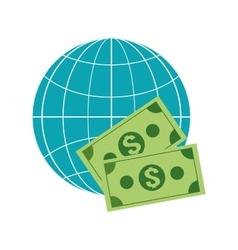 earth globe diagram and dollar bills icon vector image vector image