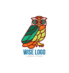 logo template with side view owl portrait vector image