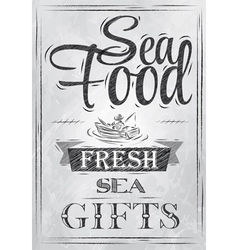 Poster Sea food fresh sea gifts charcoal vector image