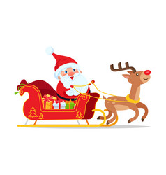santa riding in sleigh with reindeer animal vector image vector image