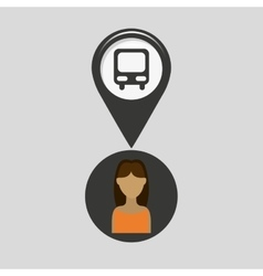 Station bus pointer map girl design icon vector