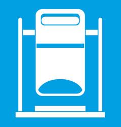 Swinging trashcan icon white vector