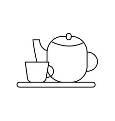 tea cup and teapot line icon sign vector image