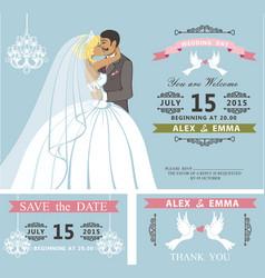 wedding invitation setkissing cartoon bride and vector image