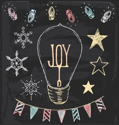 Hand Drawn Chalk Christmas Holiday Elements Set vector image vector image