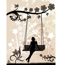 Woman on a swing vector