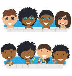 young multiracial teens having fun in outdoor vector image
