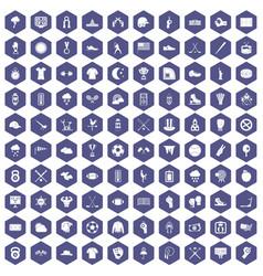 100 baseball icons hexagon purple vector