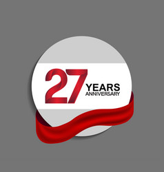 27 years anniversary design in circle red ribbon vector