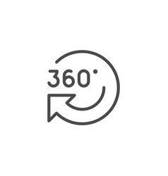 360 rotation line outline modern icon vector