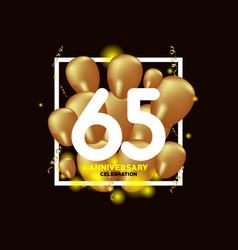 65 year anniversary white gold balloon template vector