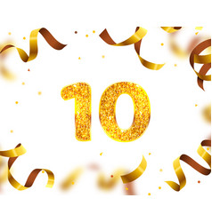 anniversary banner 10th gold ribbon fly vector image
