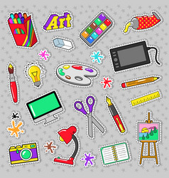 art creativity badges stickers patches vector image