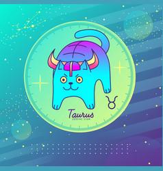Astrology taurus zodiac sign funny cat vector