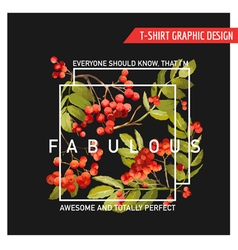 Autumn Floral Graphic Design - for T-shirt Fashion vector image