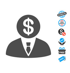 Banker flat icon with free bonus elements vector