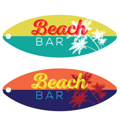Beach bar surfboard vector