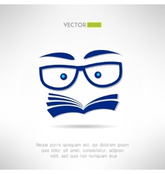 Book face with glasses icon Learning and reading vector image