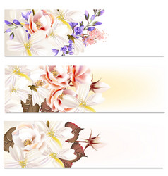 brochures set with flowers vector image