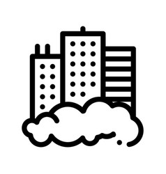 Building skyscraper and smog thin line icon vector