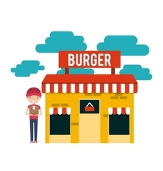 Burger building restaurant menu vector
