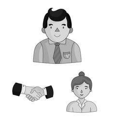 Business conference and negotiations monochrome vector
