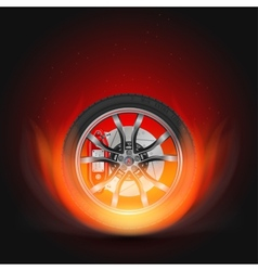 Car Wheel on Fire vector image