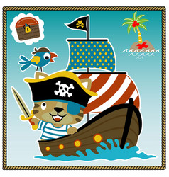 Cartoon little tiger pirate with crew on vector