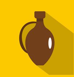 clay wine jug icon flat style vector image