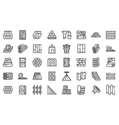 Construction materials icons set outline style vector