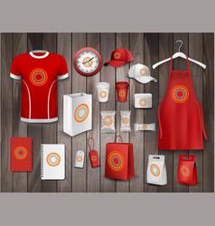 corporate identity template set mockup food vector image