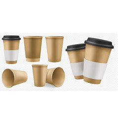 craft cup paper blank brown coffee cup template vector image