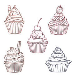 Cupcakes with berries and cookies vector