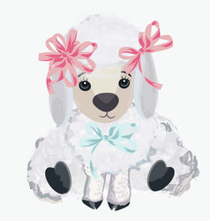 Cute lamb for design in watercolor style vector