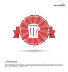 Delete icon - red ribbon banner vector