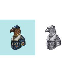 eagle character in coat aviator pilot vector image